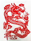 paper cutting of dragon